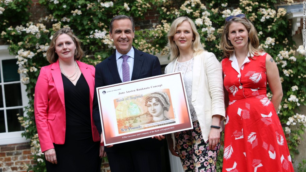 British Labour MP, Stella Creasy (second from right), and  women's rights activist and journalist, Caroline Criado-Perez (far right), were targeted by online trolls after campaigning for an image of Jane Austen to be featured on the £10 bank note. Three people were jailed earlier this year after subjecting the campaigners to rape and death threats on Twitter.