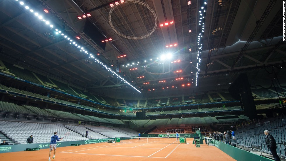 The Davis Cup final is being played in Lille at the Stade Pierre Mauroy, usually the home of Lille in Ligue 1. About 27,000 people are expected to attend per day, which could come close to eclipsing the record for the largest ever tennis crowd for a pro match.