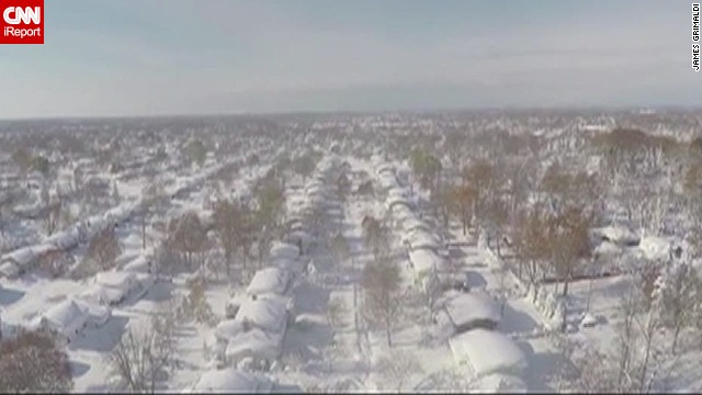 Drone captures stunning view of snowfall