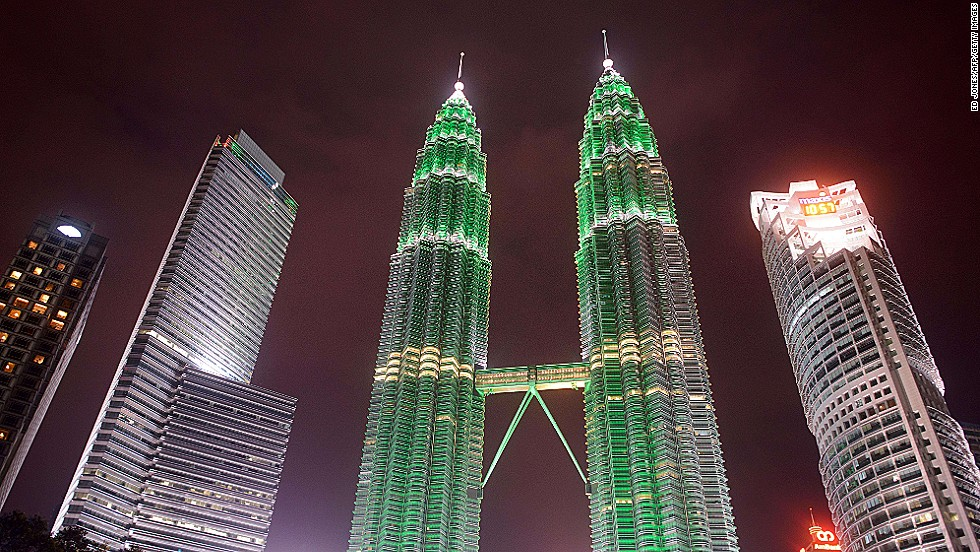 The Petronas Towers in Kuala Lumpur dominate the city's rapidly growing skyline.