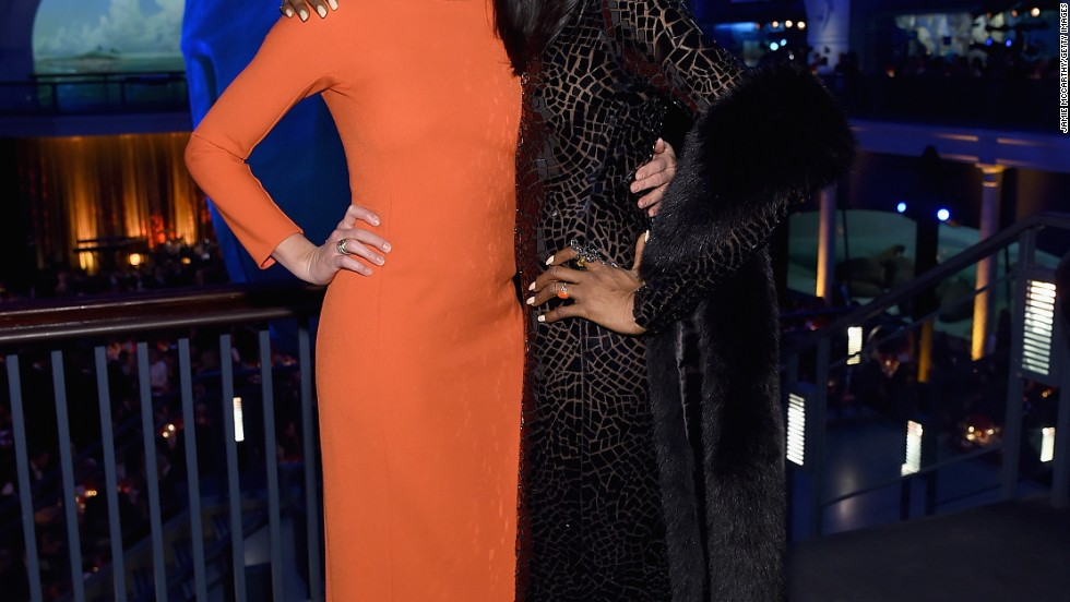 Cameron Diaz and Naomi Campbell make a striking pair at the 2014 Museum Gala at the American Museum of Natural History in New York City on November 20.