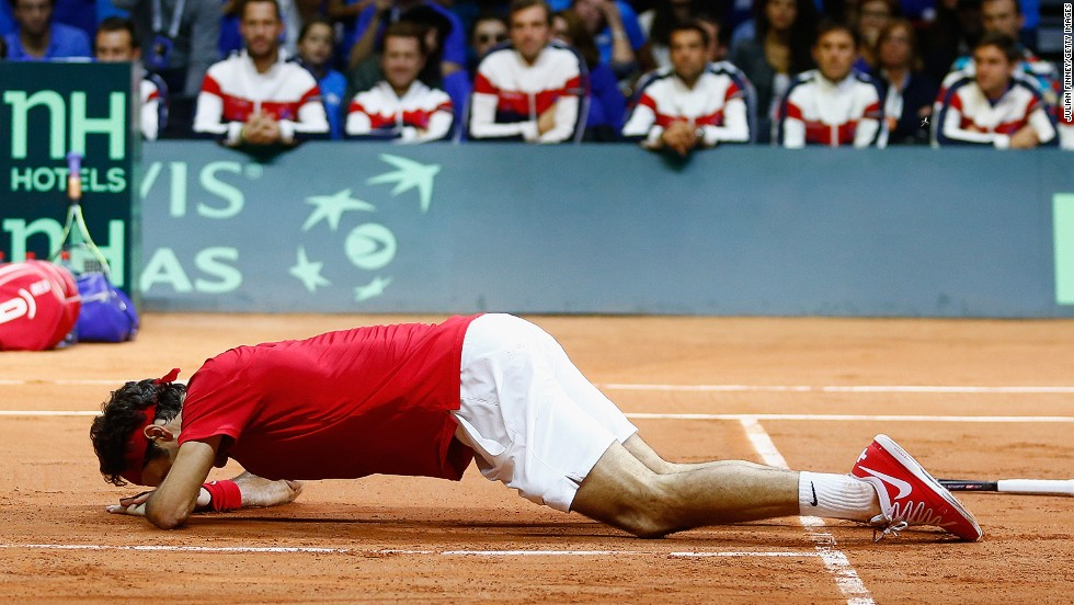 What did the victory mean for Federer? It literally brought the 33-year-old to his knees.