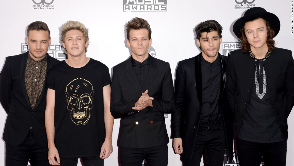From left, Liam Payne, Niall Horan, Louis Tomlinson, Zayn Malik and Harry Styles of One Direction