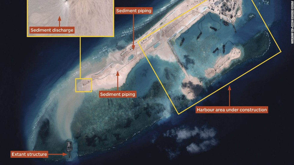 Airbus Defence and Space imagery dated November 14, 2014 shows land reclamation operations under way at Fiery Cross Reef. Multiple operating dredgers provide the ability to generate terrain rapidly. Operating from a harbour area, dredgers deliver sediment via a network of piping. Image courtesy IHS Jane's Defense Weekly.