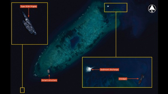 Airbus Defence and Space Imagery dated August 8, 2014 shows the beginning of land reclamations at Fiery Cross Reef in the South China Sea. Image courtesy Jane