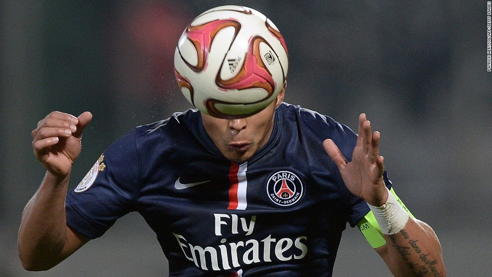 Thiago Silva, a defender for French soccer club Paris Saint-Germain, controls the ball during a match against Metz on Friday, November 21.