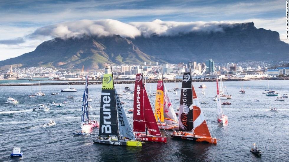 Sailing yachts are seen in Cape Town, South Africa, as the second leg of the Volvo Ocean Race gets under way on Wednesday, November 19. The nine-month sailing competition will visit 11 ports in 11 countries. The second leg ends in Abu Dhabi, United Arab Emirates.