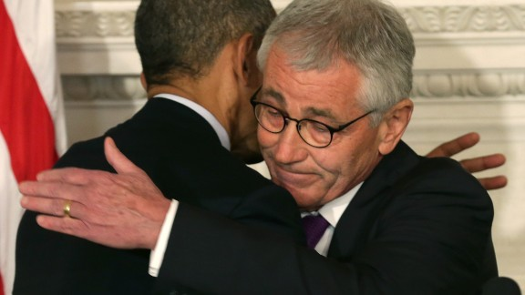 U.S. President Barack Obama (L) hugs Secretary of Defense Chuck Hagel during a press conference announcing Hagel