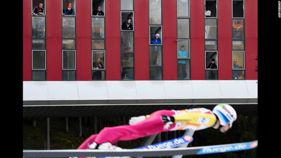Norwegian ski jumper Anders Jacobsen competes in front of judges during the Ski Jumping World Cup event held Saturday, November 22, in Klingenthal, Germany.
