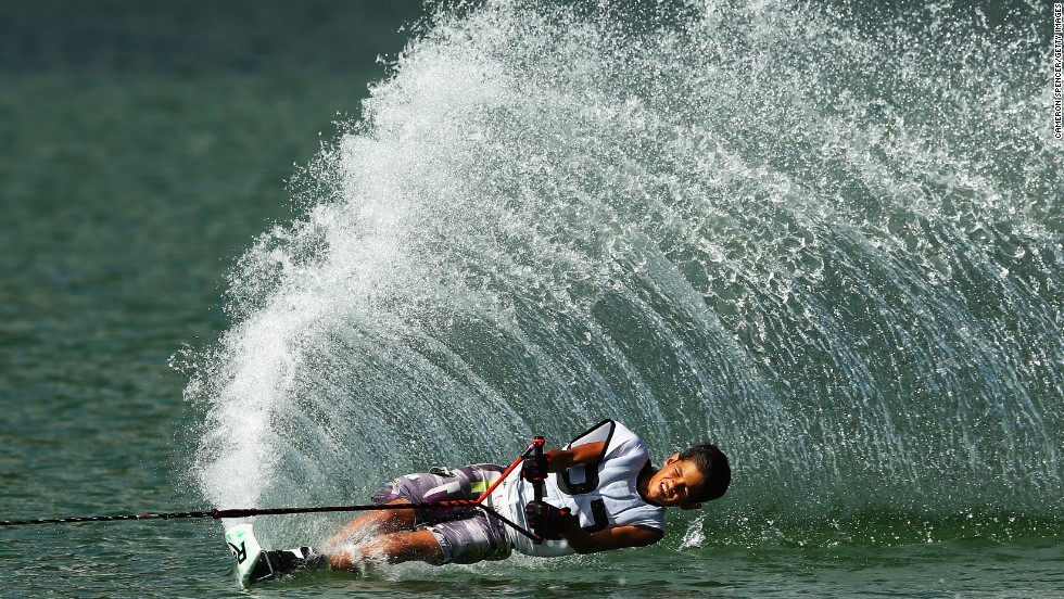 Thailand's Thierry Grappe competes in a water-skiing event Wednesday, November 19, at the Asian Beach Games in Phuket, Thailand.