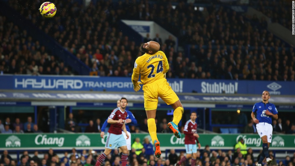 Everton goalkeeper Tim Howard watches a West Ham shot loop over his head for a goal Saturday, November 22, in Liverpool, England. It tied the game at 1-1, but Everton rallied to win 2-1.