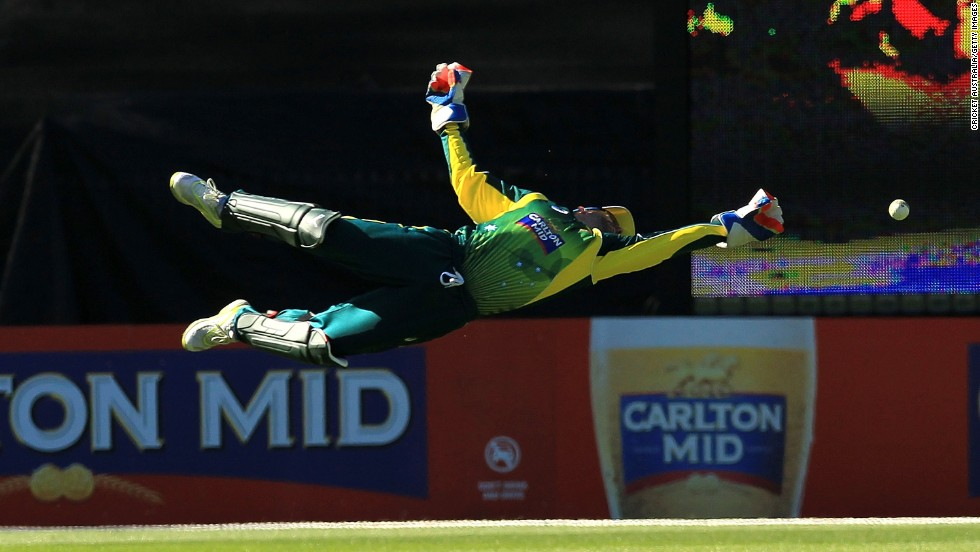 Australian wicketkeeper Matthew Wade dives for a catch Friday, November 21, during the fourth game of the One Day International series between Australia and South Africa. Australia won the match by four wickets and took four of the five ODIs played.