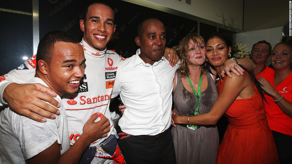There were emotional scenes of celebration in Sao Paulo for Hamilton, his family and girlfriend Nicole Scherzinger.