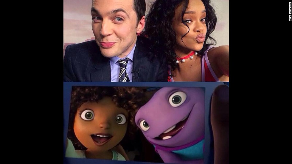 """Me & Jim Parsons living dat #AnimationLife!!!"" <a href=""http://instagram.com/p/vy15tXBM6r/?modal=true"" target=""_blank"">wrote singer and actress Rihanna</a> on Monday, November 24. The two stars voiced characters on the upcoming film ""Home."""