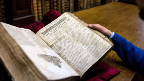"""An example of a valuable Shakespeare """"First Folio,"""" a collection of some of his plays, dating from 1623."""