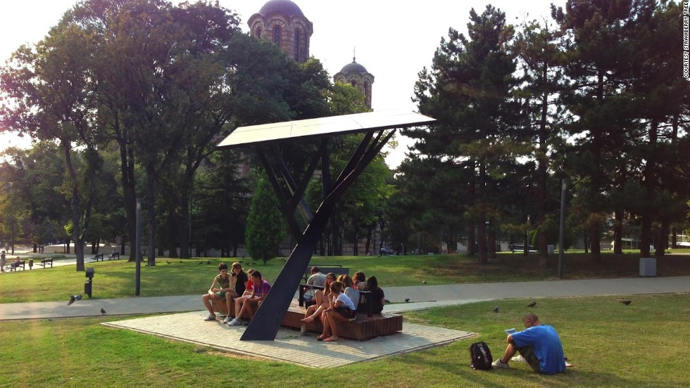 The Strawberry Tree Is A Public Solar Ed Station That Allows Users To Recharge Their
