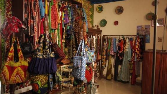 The store, located in Kigali, sells uniquely designed clothes, shoes and bags -- all handmade from African prints.