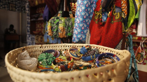 """""""We make bags with African designs, we make shoes with African fabrics, we make different designs of clothes, depending on what the customer is requiring,"""" says Mbabazi."""