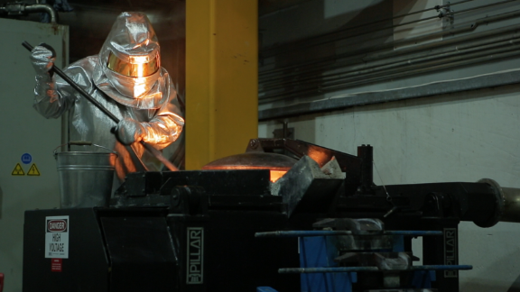 A worker at Agnico Eagle Mines, which has helped to boost the towns employment rate enormously.