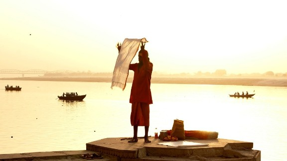 Morning sun lights up the Ganges in Varanasi, India.
