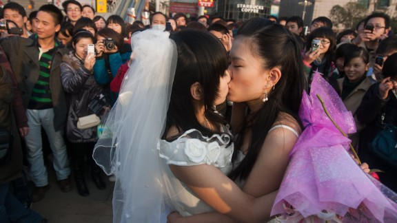 In a picture taken on March 8, 2011 a gay couple kiss during their ceremonial