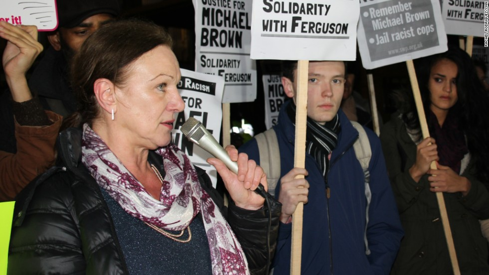 "Carole Duggan, whose nephew Mark was shot dead by British police in 2011, sparking days of riots in London, told the crowd the people of Ferguson had been ""pushed to the edge"" and felt they had no other choice but to take to the streets."