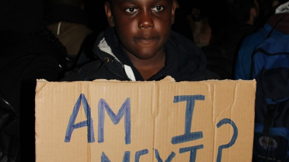 Some protesters expressed their fears that events in Ferguson could be repeated in the UK and elsewhere.