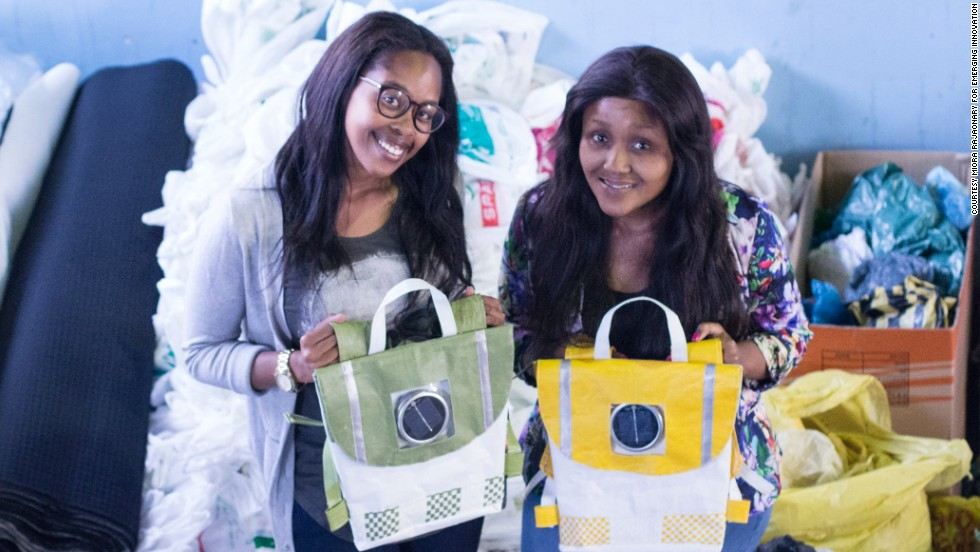 "<a href=""http://edition.cnn.com/2014/12/04/world/africa/repurpose-schoolbags-south-africa-rethaka/index.html"" target=""_blank"">Repurpose schoolbags</a> is a green initiative from budding entrepreneurs and best friends Thato Kgatlhanye and Rea Ngwane. Their 100% recycled plastic backpacks double as a nightlight for schoolkids. It features a solar panel that charges during the walk to school and also has reflective material making the children more recognizable against oncoming traffic."