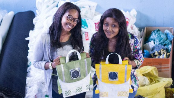 Repurpose schoolbags is a green initiative from budding entrepreneurs and best friends Thato Kgatlhanye and Rea Ngwane. Their 100% recycled plastic backpacks double as a nightlight for schoolkids. It features a solar panel that charges during the walk to school and also has reflective material making the children more recognizable against oncoming traffic.