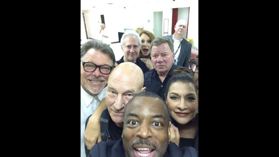 """Actor LaVar Burton, bottom, <a href=""""https://twitter.com/levarburton/status/503663692807168000"""" target=""""_blank"""" target=""""_blank"""">snaps a selfie</a> with other former """"Star Trek"""" stars, including Sir Patrick Stewart and William Shatner, during an event in Chicago on Sunday, August 24."""