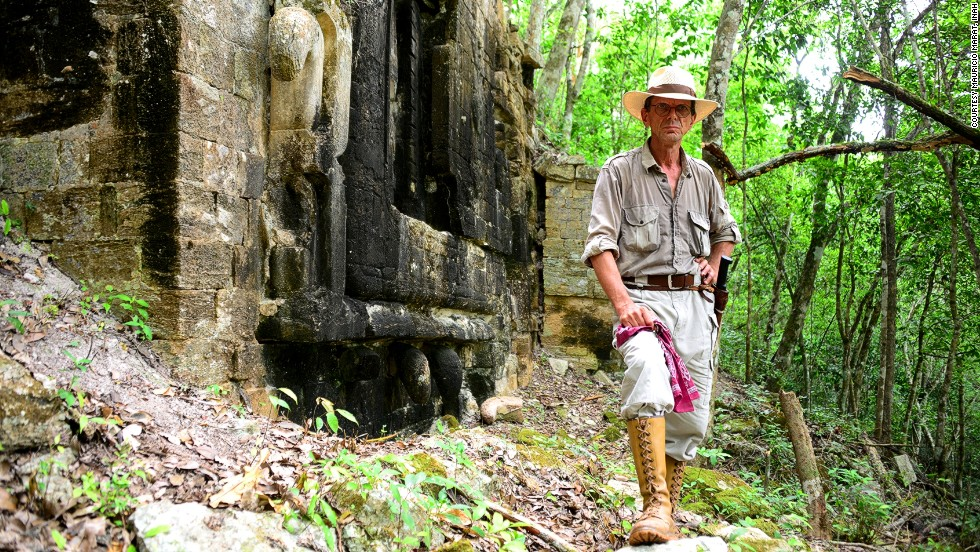 Slovenian archeologist Ivan Šprajc stands before Lagunita, his most recent discovery. <br /><em>(All photographs courtesy of Mauricio Marat, INAH)</em>