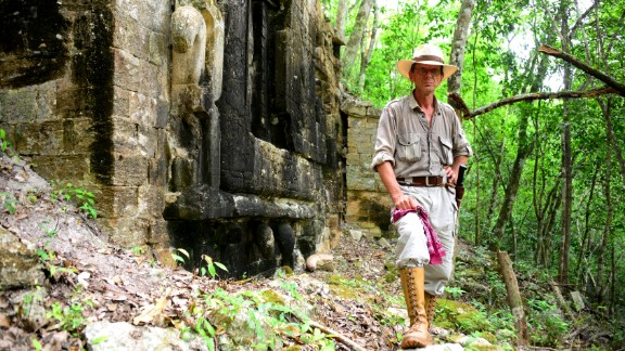 Slovenian archeologist Ivan Šprajc stands before Lagunita, his most recent discovery.  (All photographs courtesy of Mauricio Marat, INAH)