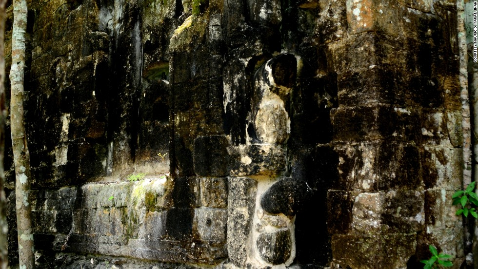 "The north jamb of the ""monster mouth"" portal facade. The mouth in question likely belongs to an earth monster, but may be a hybrid of several different creatures from Mayan mythology."