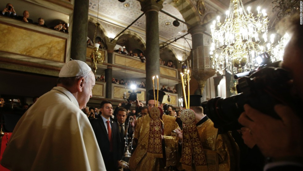 Pope Francis arrives to attend an ecumenical prayer with Ecumenical Patriarch Bartholomew I at the Patriarchal Church of St. George in Istanbul on November 29.
