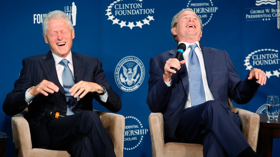 "<strong>September 8:</strong> Former U.S. Presidents Bill Clinton, left, and George W. Bush laugh on stage during an event at the Newseum in Washington. The event was for a new leadership program they were launching, but <a href=""http://www.cnn.com/2014/09/08/politics/clinton-bush-friendship/"">they also joked with and about each other</a>, told stories about their relationship and even offered commentary about the number of selfies each is asked to take."