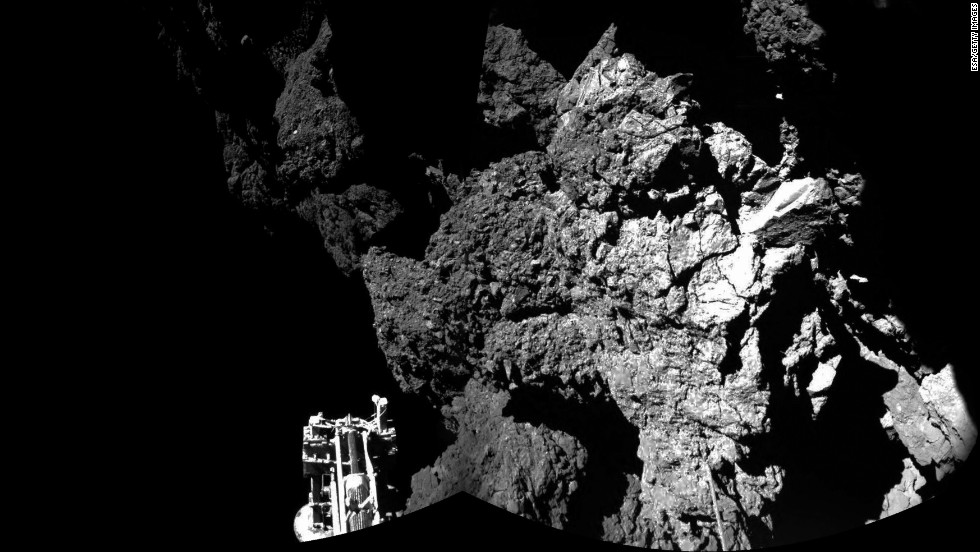 "<strong>November 13:</strong> A handout photo provided by the European Space Agency shows the surface of the 67P/Churyumov-Gerasimenko comet as seen from the Philae lander <a href=""http://www.cnn.com/2014/01/17/tech/gallery/rosetta-the-comet-chaser/index.html"">that landed on the comet's surface.</a> Philae became the first manmade craft to ever land on a comet. It is a miniature laboratory that will gather data on the comet, which is about 310 million miles from Earth."