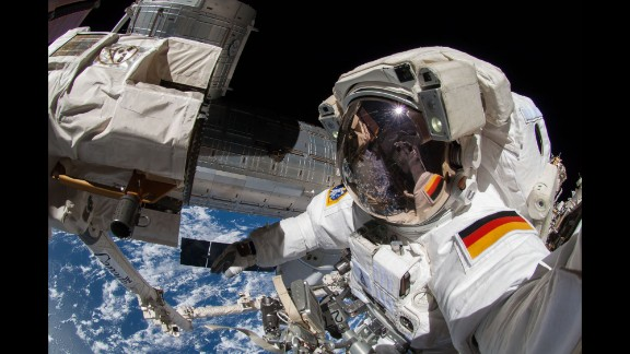 Alexander Gerst, an astronaut with the European Space Agency, takes a selfie during a spacewalk Thursday, October 9, outside the International Space Station.