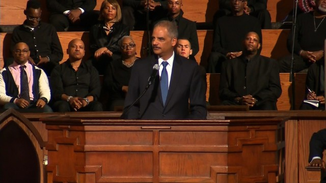 Eric Holder speaks at Ebenezer Baptist Church in Atlanta.
