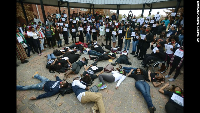 Students at Jackson State University in Jackson, Mississippi, participate in the walk out on December 1.