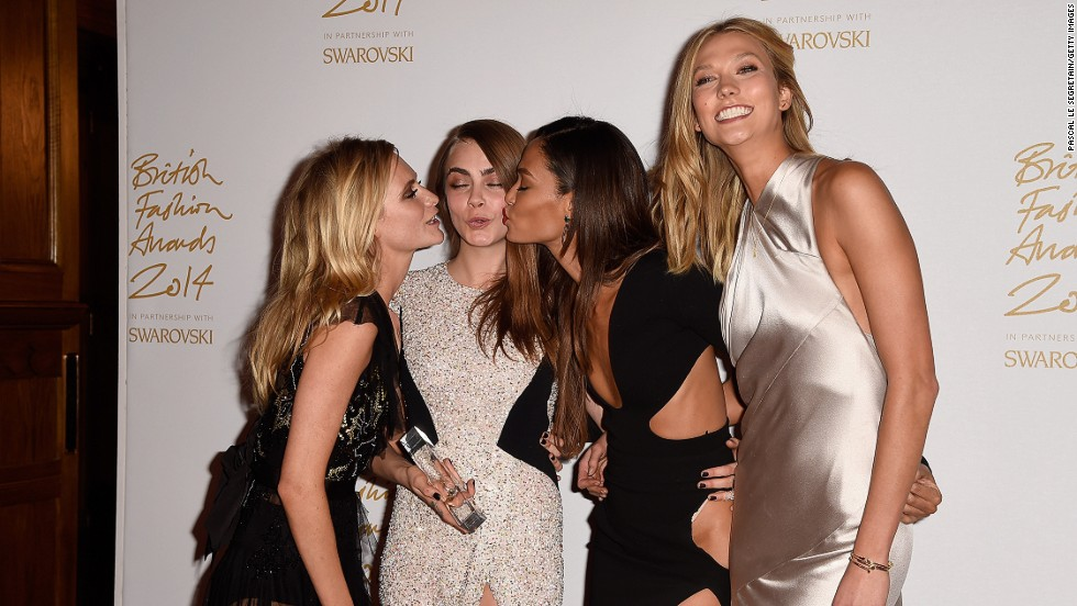 Cara Delevingne, queen of the stuck-out tongue and the onesie, took home the award for Model of the Year. Fellow models Joan Smalls and Karlie Kloss, and socialite sister Poppy, were on hand to present the award and celebrate after the ceremony.