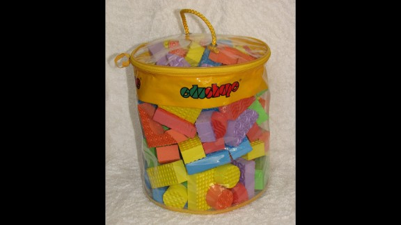 The smallest block in the Edushape 80 Pieces Textured Blocks set could be a choking hazard. Choking is the fourth leading cause of unintentional death in children under age 5.