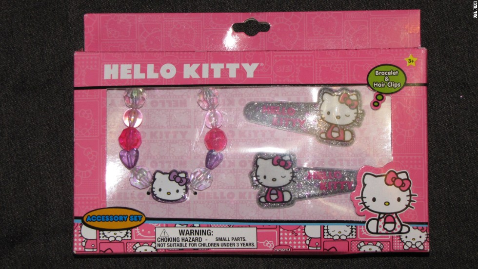 The Hello Kitty bracelet and hairclip accessories have a high number of phthalates according to this study. If a child were to put this in their mouth the chemical may cause developmental problems.