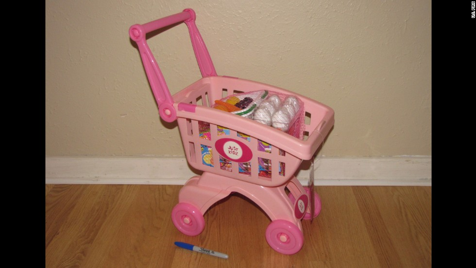 "The Shopping Cart Playset has a small set of eggs and lemons that look like they should be eaten and are small enough to be a <a href=""http://www.healthychildren.org/English/health-issues/injuries-emergencies/Pages/Choking-Prevention.aspx"" target=""_blank"">choking hazard.</a>"