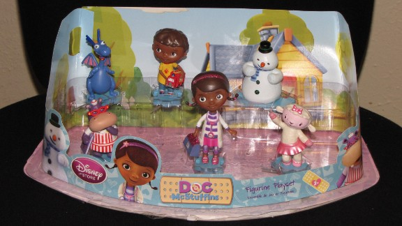 The figurines in the Disney Junior Doc McStuffins Figurine Playset can be broken off their bases creating small parts that could present a choking hazard.