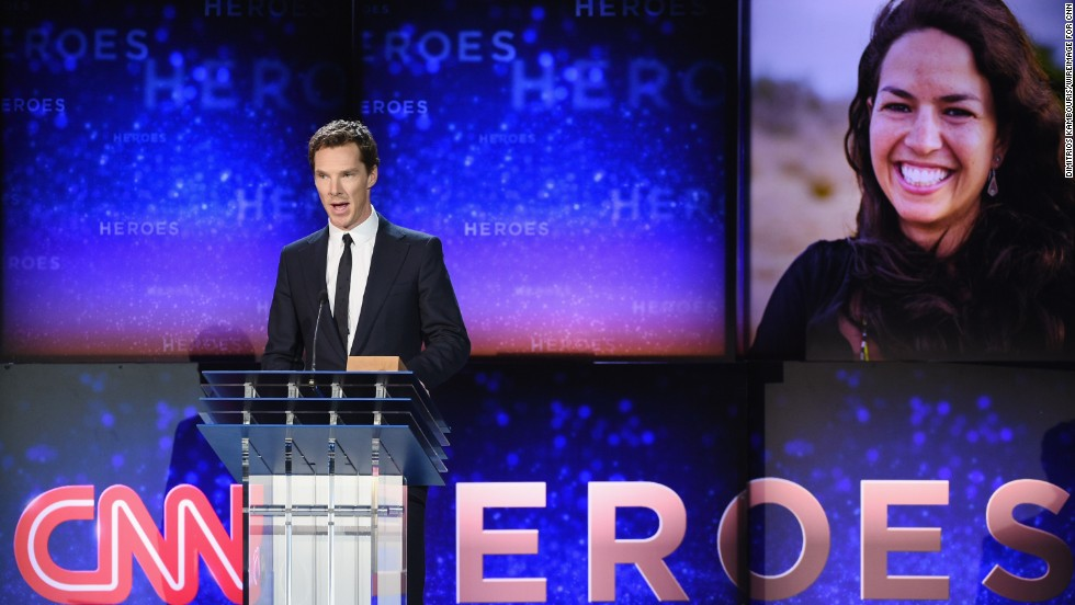 Actor Benedict Cumberbatch speaks on stage during the show.