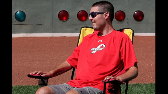 Former Boston College baseball captain Pete Frates suffers from ALS, the degenerative disease that affects the brain, and can no longer walk or speak. But he