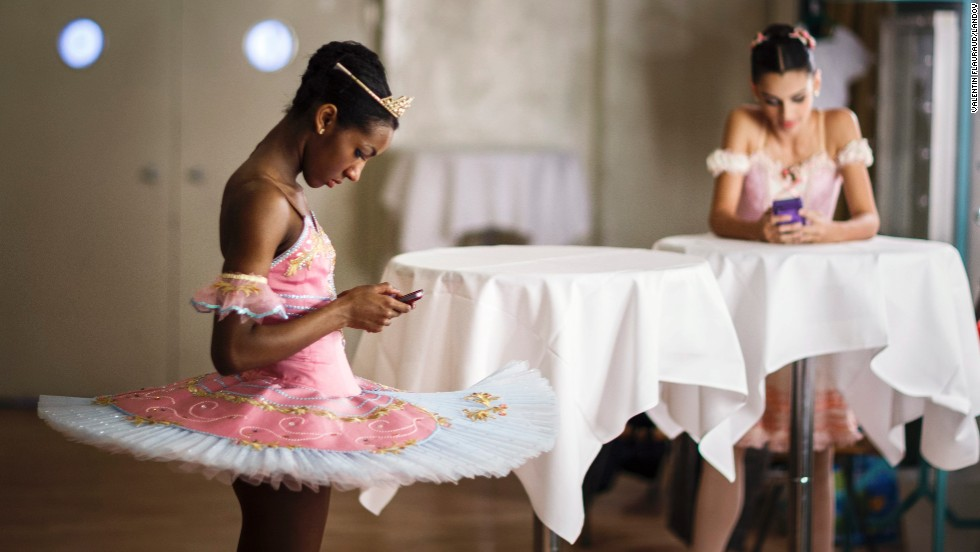 <strong>February 1: </strong>Precious Adams, left, waits for her results after performing at the final of the Prix de Lausanne, an international dance competition in Lausanne, Switzerland. Adams was one of the prize winners, earning an apprenticeship with the English National Ballet.