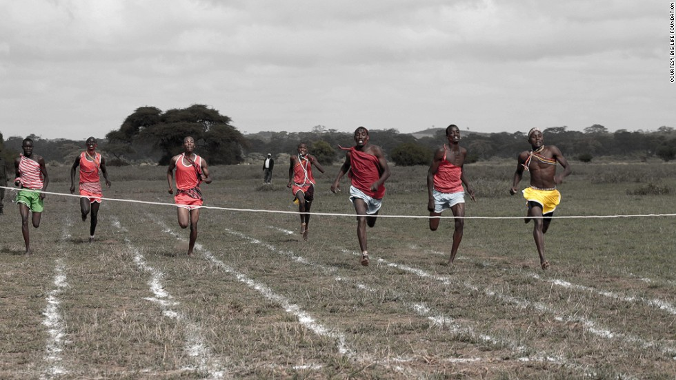 "Competitors sprint towards the finish line at the 2012 Maasai Olympics.<br /><br />""The most popular events for athletes and spectators are the high jump, the 200 meters and 800 meters races and the javelin,"" Ntalamia said."