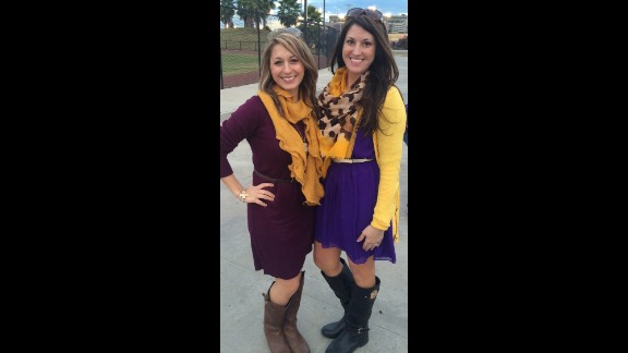 """Accessories like scarfs, belts, and jewelry should coordinate """"but not be too matchy matchy,"""" said Louisiana State University fan Haley Poole, right. """"The outfit should also still be functional off campus -- if you feel like you stick out amongst people who are not going to the game, it's too much."""""""