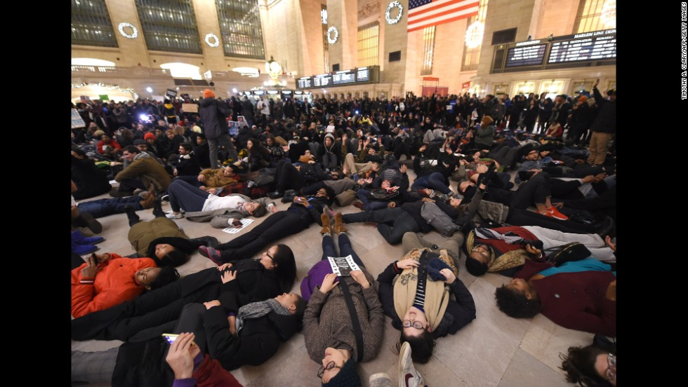 Protesters lie down in Grand Central Station on December 3.